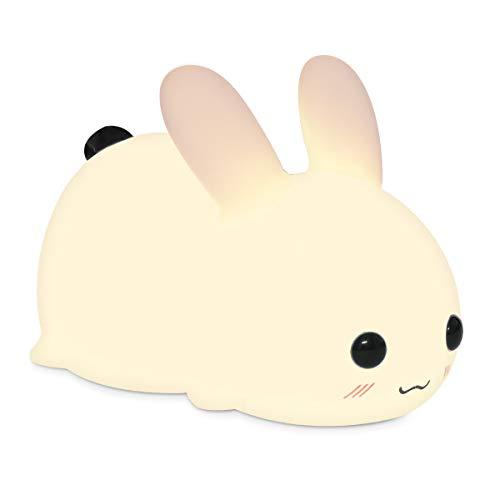 Navaris LED Nachtlicht Snow White Rabbit - mit USB Kabel - dimmbar - süße Nachttischlampe für Kinder - Kinderzimmer Schlummerlicht Lampe Weiß