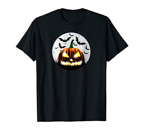 Furchtsamer Halloween Jack-O-Lantern Kürbis Dummkopf Mond T-Shirt
