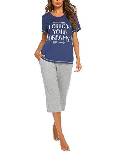 UNibelle Pyjama Femmes Ensemble Manche Courte Pantacourt Pyjama Imprimé PJS Femme, Bleu Marine, L