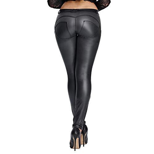 DALLNS Faux Leather PU Elastic Shaping Hip Push Up Pants Black Sexy Leggings for Women (Medium,Black)