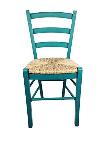 Sedia Venezia Paesana nel 32, Legno Massello, Vari Colori, in Paglia di Riso Cucina Casa Ristorante Agriturismo, Alta qualità, ORDINE MINIMO 2 PEZZI (Azzurra)