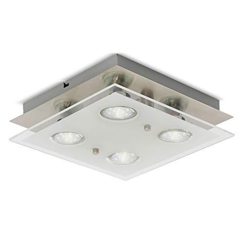 B.K.Licht I LED Deckenleuchte warmweiß I inkl. 4 x 3W 250LM GU10 I matt-nickel I IP20 I Deckenlampe I Deckenstrahler