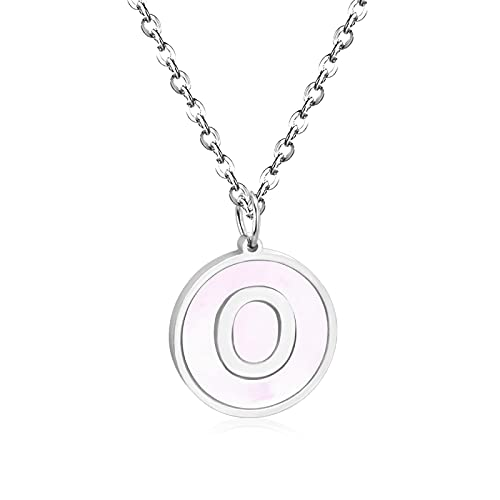 chenchen Tiny Minimalist Round Disc Block 26 A-Z Letter Alphabet Initial Pendant Necklace For Teen For Women 925 Sterling Silver O