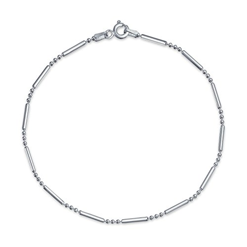 Simple Plain Bar Ball Link Chain Anklet Charm Hot wife Ankle Bracelet For Women Made In Italy 925 Sterling Silver 9In