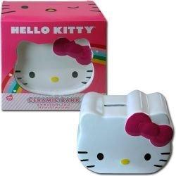 "Hello Kitty Face Ceramic Coin Bank - 6"" wide"