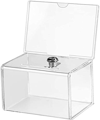 MaxGear Acrylic Donation Box with Lock and Sign Holder, Clear Ballot Box Donation Boxes for Fundraising (6.25' x 4.5' x 4') with Lock - Clear