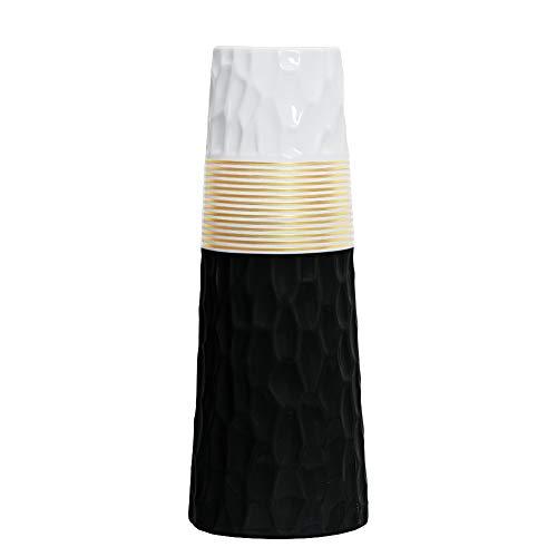HCHLQLZ - Jarrón de cerámica con acabado en oro blanco de 11 pulgadas, para decoración del hogar, jarrones y centros de...