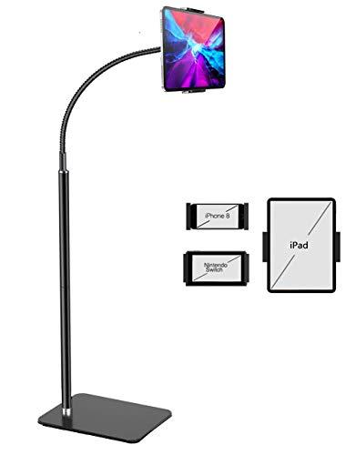 iPad スタンド 床置タブレット スマホ スタンド 【iHOMX重いフレキシブルアーム 360°回転】可能床に 高さ調整可能 4-11インチタブレットと携帯に適用 iPad/Kindle/Nintendo Switch多機種対応 (黒)