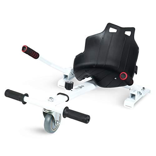 Hoverkart, Asiento kart, Color Blanco/Negro con rueda delantera, manillar a los laterales y barra ajustable. Accesorio para transformar hoverboards 6