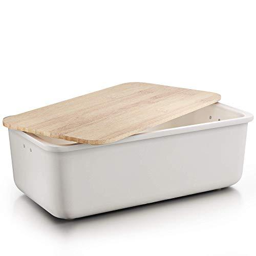 Destyx® Panera de bambú con tabla de cortar de bambú beige para guardar el pan – Ecológica de madera con orificios de ventilación para pan fresco