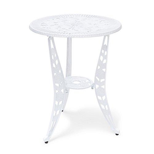 Relaxdays Bistrotisch HBT 64 x 50 x 50 cm Gartentisch aus Aluminium Tisch für Terrasse und Wintergarten Gartenmöbel im Jugendstil mit Blumen Muster, weiß