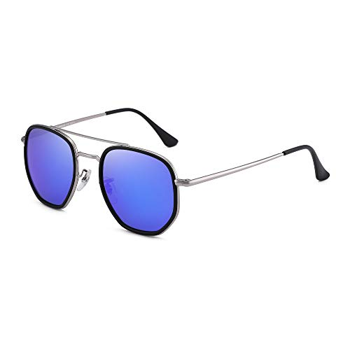 GLINDAR Gafas de Sol de Aviador Retro Pequeñas Para Hombres y Mujeres, Marco de Puente Doble Vintage Espejo Azul