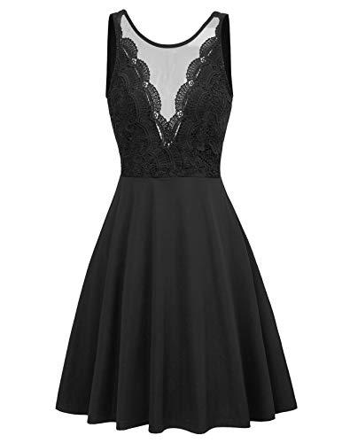 Women Lace Patchwork High Waist Slim Fit A-Line Flare Party Dress L Black