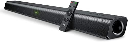 BOWMAKER Tech Barra de Sonido 2.0 Canales, Potencia 120 W, 120 dB, Tecnología DSP 3D Subwoofer Incorporado, HDMI, Bluetooth 5.0, para TV, 37 Pulgadas Cine en Casa, Óptico, 3,5 mm AUX, USB, ODINE III