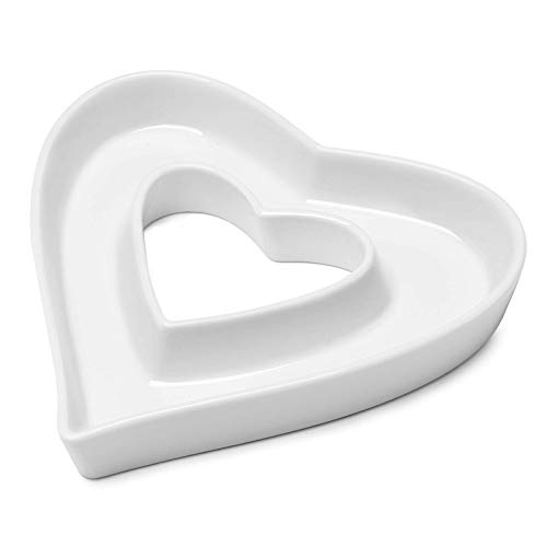 Sweese 708.938 Porcelain Candy Dish, White - Decorative Serving Dish for Valentine's Day,Weddings, Anniversaries, Birthday Party, Table Decoration