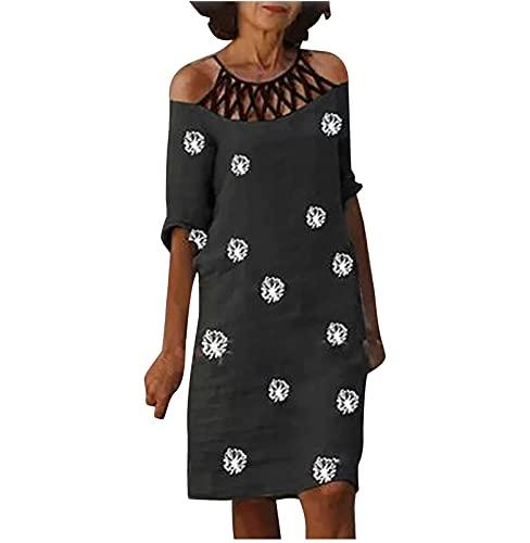 Sommerkleid Damen Knielanges Kleid LöWenzahn Print Schulterfreies Cut-Out Kleid Elegantes Kurzes LäSsiges Lockeres Kleid