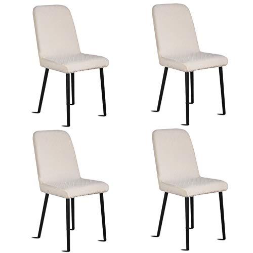 Silingsan Fundas para sillas Pack de 4, Funda para Silla Elástica Funda de Silla Jacquard para Asiento Extraíble y Lavable para Hotel, Ceremonia, Restaurante (Paquete de 4, Beige)