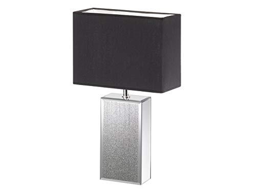 Designklassiker: Eckige LED Tischleuchte groß mit Glasfuß Silberfarben & Stoffschirm