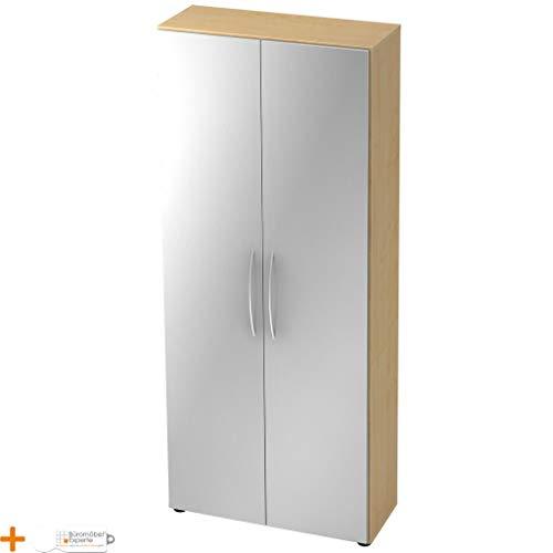 Büromöbel Experte Flügeltürenschrank Büroschrank Aktenschrank 5 Ordnerhöhen Basic Ahorn-Silber Bogengriff Holztüren 4 Fachböden