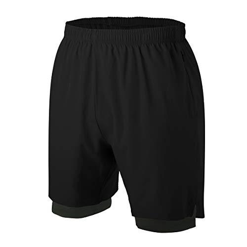Herren 2 in 1 Sport Shorts Schnell Trocknend Sporthose Kurze Hosen mit Reißverschlusstaschen (Schwarz S)
