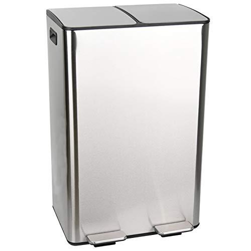 Ribelli Duo Mülleimer aus Edelstahl - 60 Liter (2x30L) - Mülltrennung, Mülltrennsysteme mit 2 Inneneimern, Treteimer, Abfalleimer, Müllbehälter, Papierkorb (Chrom)