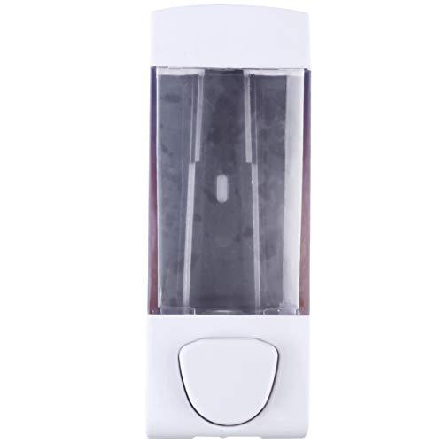 Cabilock Botella desinfectante para manos con bomba de prensa, dispensador de jabón de pared, caja de gel de ducha, color blanco (boquilla única de 350 ml)