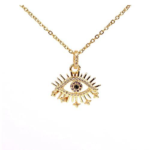 Collar turco de mal de ojo de circonita cúbica de oro collar con colgante de ojo azul griego joyería de moda accesorios de mujer regalos 1 Uds