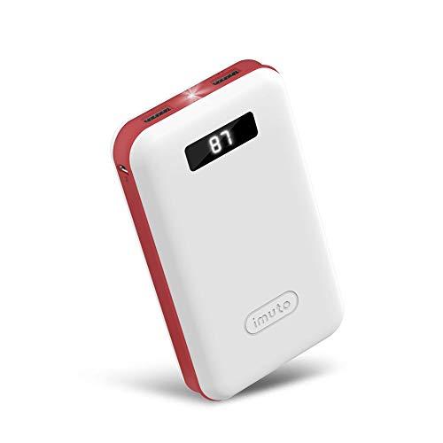 imuto Tragbares Ladegerät Externer Akku Powerbank mit Smart Digital LED Display ... weiß