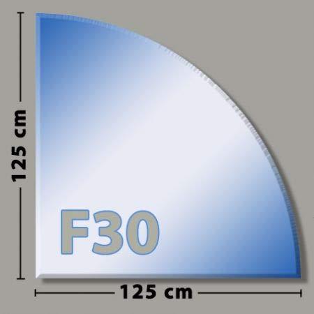 Viertelkreis F30 Funkenschutzplatte - Glasplatte aus Sicherheitsglas