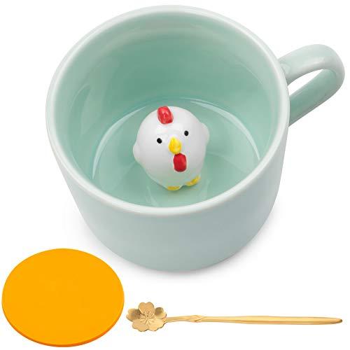 Keramik Kaffeetasse Lustige Teetassen Handgemachte Nette Huhn Tasse 3D Für Freunde Mitbewohner Familie oder Kinder 3D Niedliche Tierkaffeetasse Als Überraschungsgeschenk Geburtstagsgeschenk