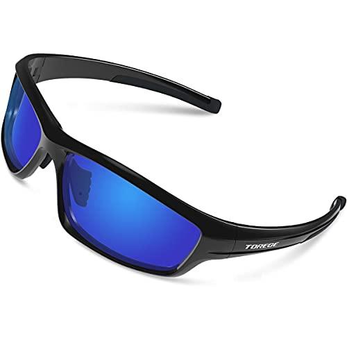 Gafas de sol polarizadas deportivas para hombres y mujeres Ciclismo Running Pesca Golf TR90 Marco irrompible TR011 (negro/negro punta y lente azul)