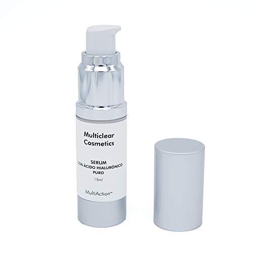 Multiclear Cosmetics - MULTICLEAR SERUM CON ÁCIDO HIALURÓNICO 15ml - Efecto reafirmante que rellena las arrugas desde el interior - Con ingredientes naturales y 100% vegano