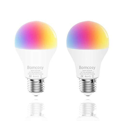Bombilla LED Inteligente WiFi, 2 Pack 7W E27 Bombilla LED Luces Cálidas/Frías & RGB, Multicolor Lámpara WiFi Funciona con Alexa (Echo, Echo Dot) Google Home IFTTT, 16 Millones de Colores, 600 Lúmenes