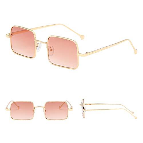 YU-HELLO _Fashion - Gafas de sol para hombre y mujer, montura cuadrada, color degradado, personalidad de metal, gafas versátiles