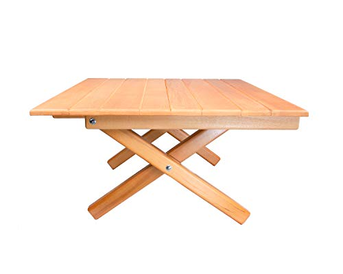 "Simple Setup Short Table All-Purpose Use and Portability - Beach, Picnic, Camp, Or As A Gift - All Wood Strong Table (Height 10"")"