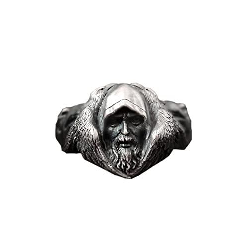 PuuuK Anillo De Cuervo Odin De La Mitología Nórdica, Anillo De Acero Inoxidable con Lobo Vikingo para Hombre, Joyería De Amuleto Escandinavo,10