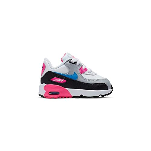Nike Baby Mädchen AIR MAX 90 LTR (TD) Sneaker, Mehrfarbig (White/Photo Blue-Black-Pink Blast 107), 23.5 EU