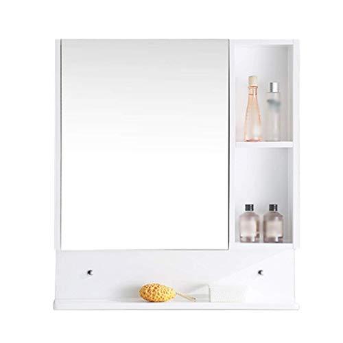 XCJJ Massivholz-Badezimmerspiegelschrank, Wandwaschbecken/Waschtischunterschrank, Medizinschrank-Organizer, einfach zu installieren,Weiß,700 * 770 * 130 mm