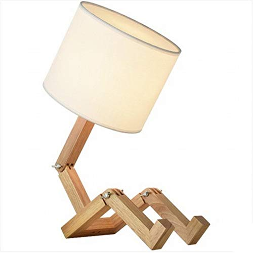 Lámpara Escritorio Mesa Robot Shape Wooden Table Lamp Holder Modern Cloth Lamp Shade Wood Dimmer Switch Desk Lamp Home Decor Light