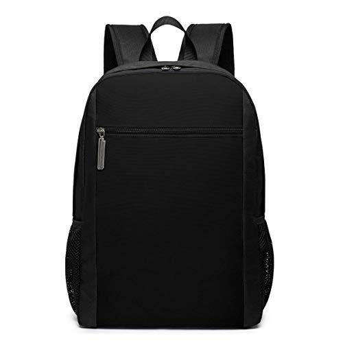 ZYWL Pure Black Solid Color Premium 17-inch Travel Laptop Backpack, Bookbag, Business Bag