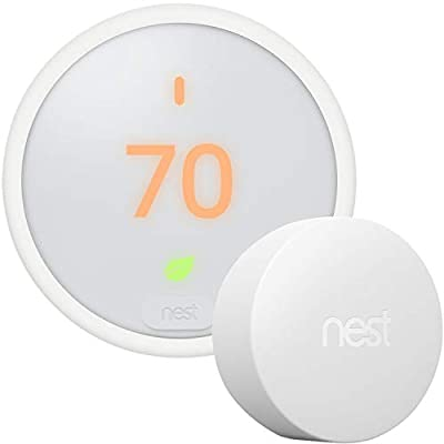 Google Nest Thermostat E - Programmable Smart Thermostat for Home T4000ES - 3rd Generation Nest Thermostat (Frosted White)- Compatible with Alexa Bundle with Nest Temperature Sensor