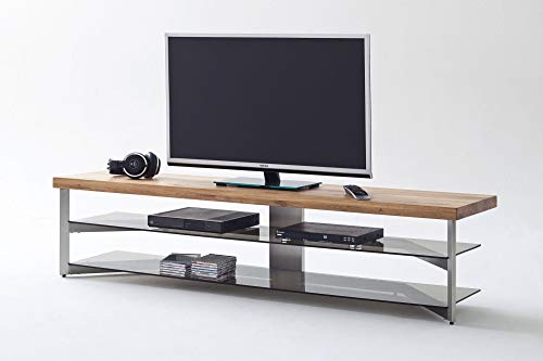 Newfurn TV Lowboard Modern TV-Schrank Fernsehtisch Rack Board II 180x40x 40 cm (BxHxT) II [Bangkok] in Metall/Edelstahl Optik/Eiche Wohnzimmer Schlafzimmer