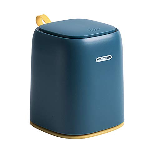 DUYUJIE Desktop Trash Can Mini Push-type Silicone Handle Sealed Against Odor Snap Button One-click Opening and Closing Can Be Used In The Office Dressing Table