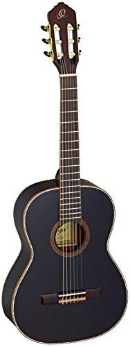 Ortega Guitars R221BK-7/8 Konzertgitarre in 7/8 Größe schwarz im hochglänzenden Finish weißes Perlmut Deckenbinding mit hochwertigem Gigbag