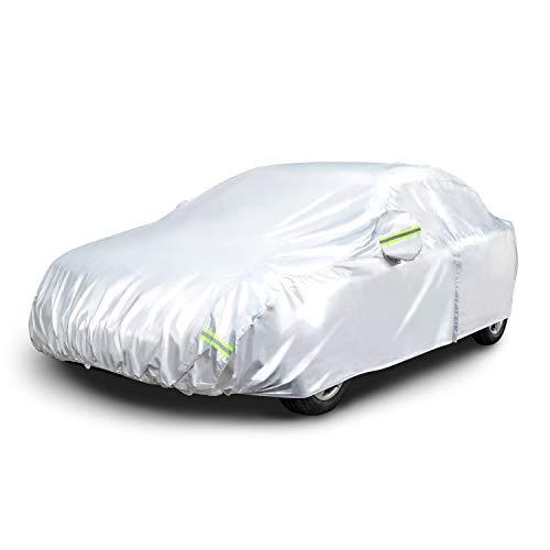 Amazon Basics – Funda resistente a la intemperie para vehículo, poliéster de tipo Oxford de 150D, para sedanes de hasta 430cm, plateada