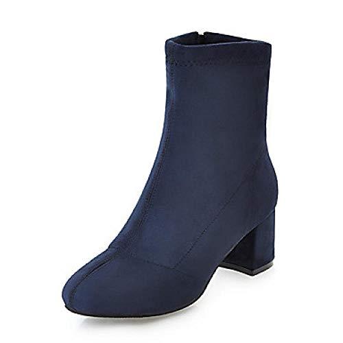 LYWNXEZ Dameslaarzen Formule schoenen blokhak ronde kap PU (polyurethaan) laarzen met gemiddelde kuit Brits/minimalistisch, herfst & winter bruin/blauw/wijn/party & avondje