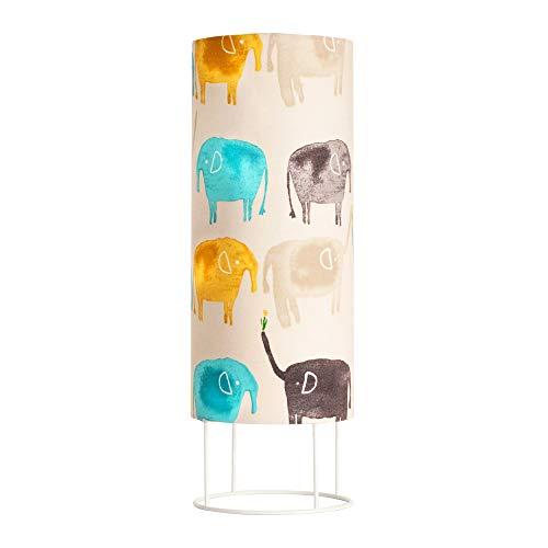 Pauleen 48043 Cute Elephant Tischleuchte max. 20W Tischlampe für E14 Lampen Kinderzimmerlampe Creme Elefant Metall/Stoff ohne Leuchtmittel, Beige,Bunt