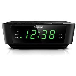 Philips AJ3116 Wake-UP Alarm Clock, FM Radio, Digital Tuner, Build-in Alarm, Dual Alarms, Sleep Timer, Battery Back-up During Power Failure - Black