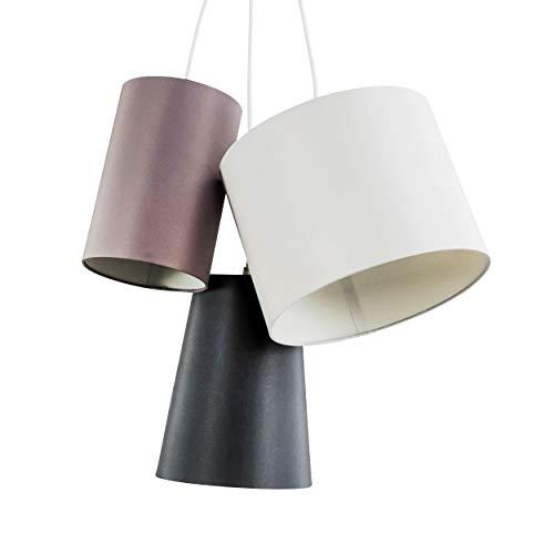 Pendelleuchte Wimin, Hängelampe mit Leuchtenschirmen aus Stoff in Weiß/Braun/Schwarz, 3-flammig, 3 x E27 max. 60 Watt, Höhe 97 cm, Hängeleuchte im Retro/Vintage-Desgin, geeignet für LED Leuchtmittel