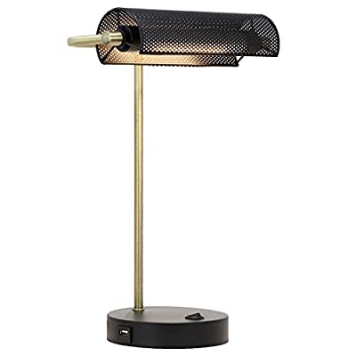 O'Bright LED Bankers Desk Lamp with USB Charging Port, 100% Metal Lamp, 360° Rotatable Lampshade, Soft White LED Reading Light, Bedside Reading Lamp, Office Lamp, Table Lamp, Piano Lamp, Black